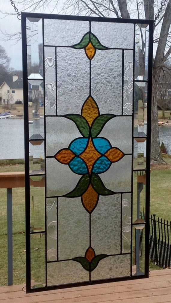 Victorian Beveled Stained Gl Panel Window Hanging Amber
