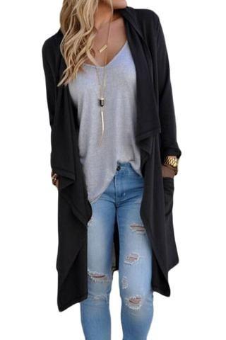 Her Fashion Vibe Black Drapery Open Front Back Slit Oversize Coat