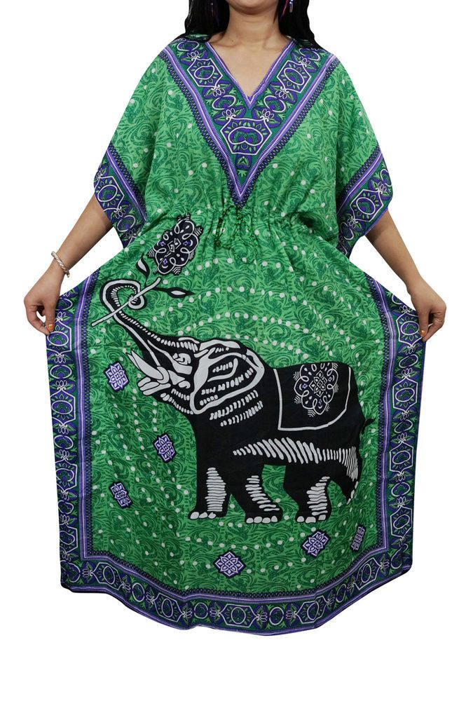 Indiatrendzs Women's Nighty Animal Print Green Evening Wear Kaftan Dress  | eBay #nighty #womens #nightdress #maxi #eveningwear #kaftandress