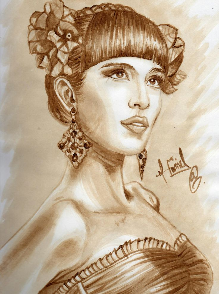 Retrato hecho con café de la Cantante Catalina G. de Monsieur Periné  (Madame periné)