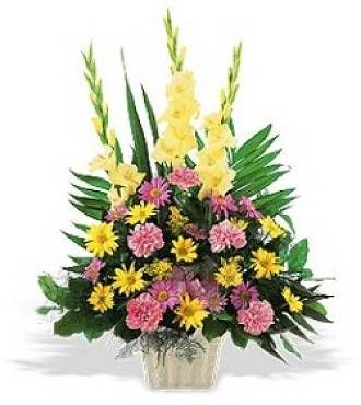 Sympathy Flowers - Classic Sympathy Basket - Send an expression of caring with this classic sympathy basket, featuring gladiolus, carnations and mums. Other color schemes are available. Container may vary.
