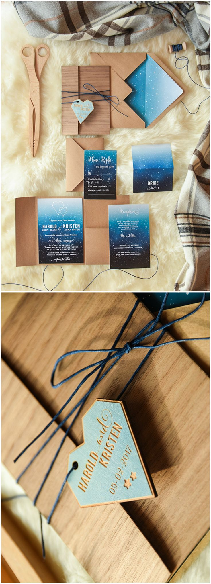 Rustic Winter Wedding Invitation with wooden tag