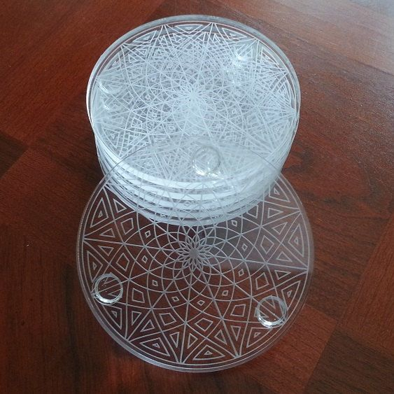 Geometric Pattern Clear Acrylic Laser Engraved Coaster Set of 6