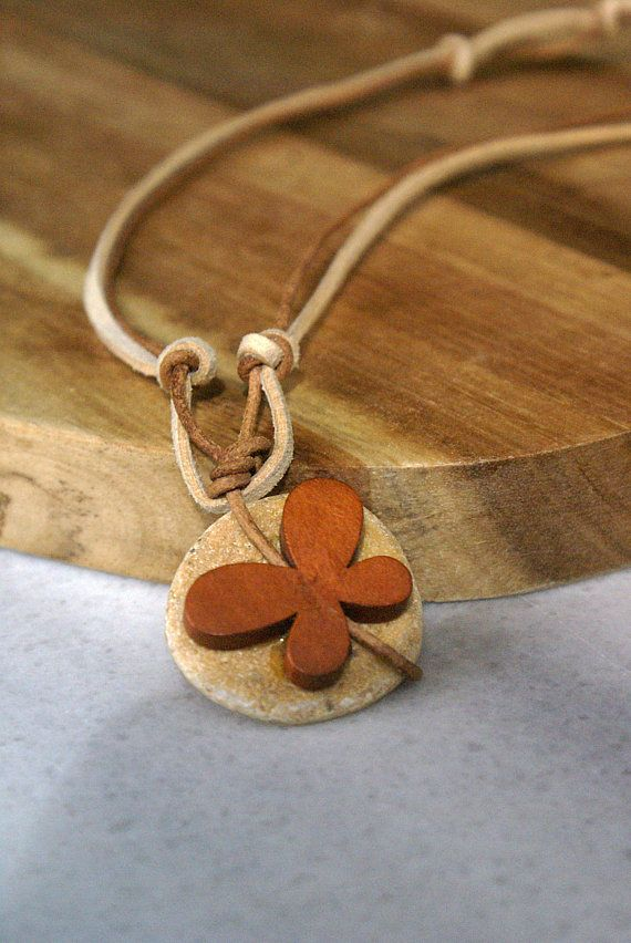 Short Butterfly Pendant Necklace Butterfly Jewelry Animal Necklace Pebble Stone Necklace Wooden Pendant Boho Necklace Daughter gift from mom