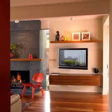 Image result for shelves above tv fireplace