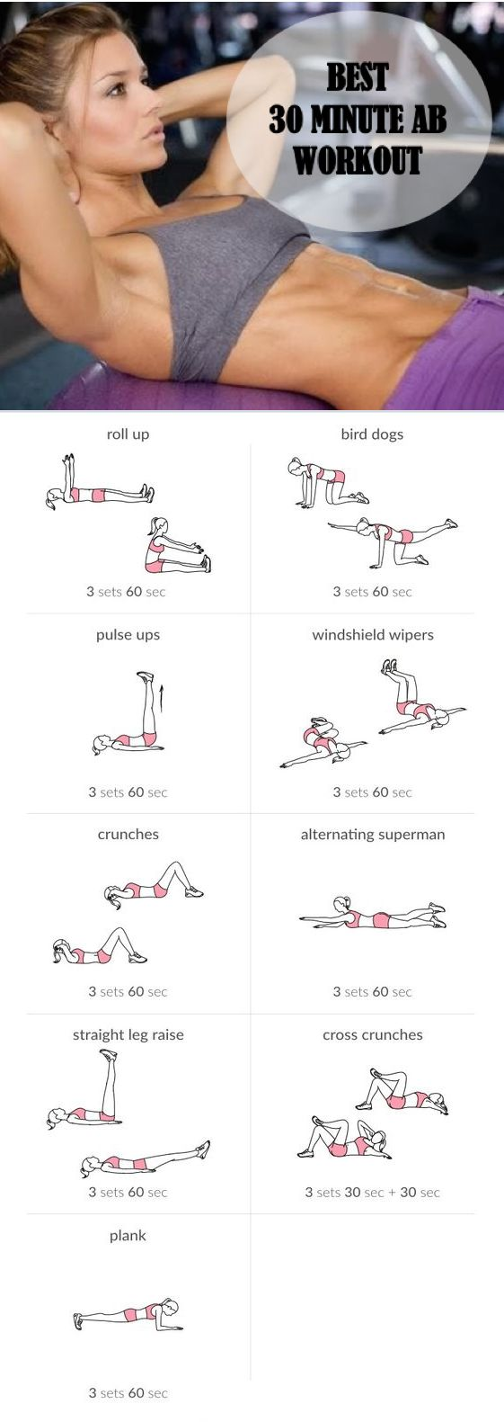 Great 30 minute ab workout to do to get ready for bathing suit season. Best part of this workout is that you can do it at home with no equipment!