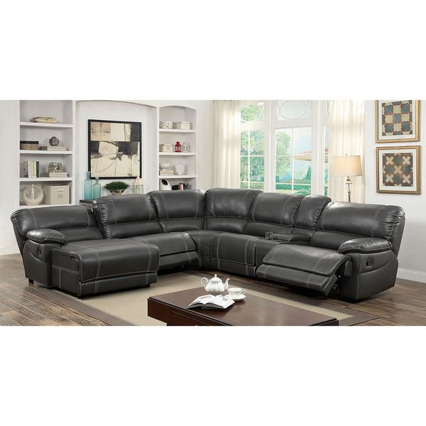 furniture of america merson lshaped leatherette reclining sectional with storage console