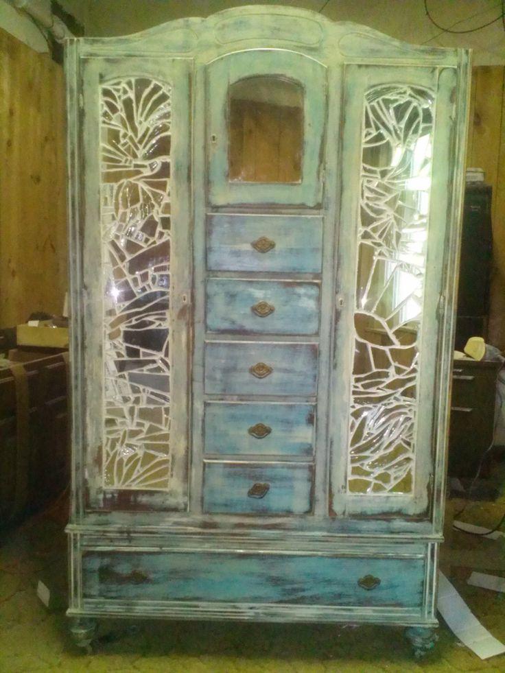Repurposed Wardrobe With Broken Mirror Mosaic. Hmmm Perfectly Broken  Mirrors Unusual... LOVE