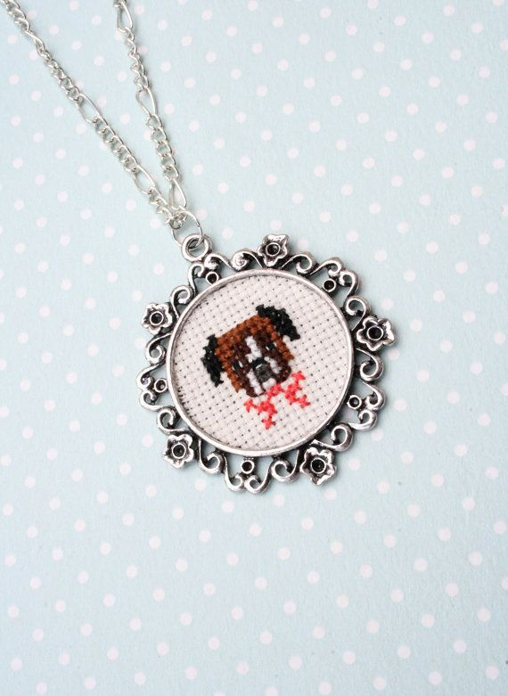 Cute boxer cross stitch necklace - Dog cross stitch necklace on Etsy, $40.00