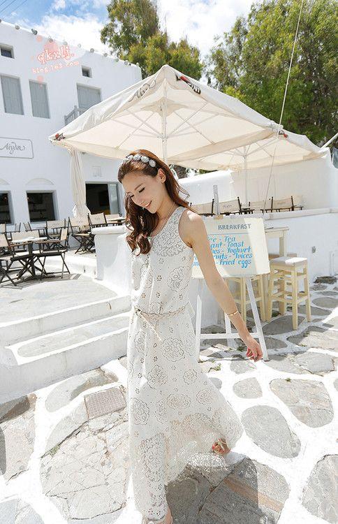 ワンピース・ドレス - ポヘミア風ラウンドネックノースリーブマキシ丈ホワイト透かし彫り総レースワンピース♪