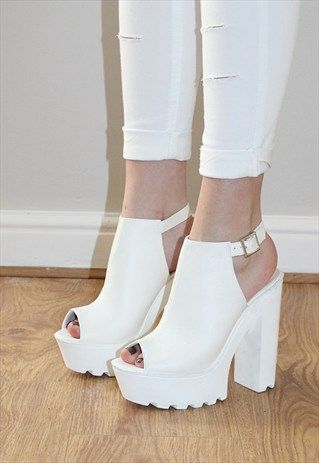 Cleated sole high heel chunky platform boots sandals