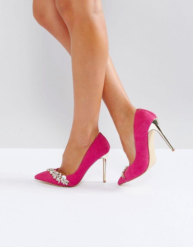 Carvela Jewel Detail Pointed Heeled Shoe - Pink