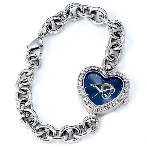 "BSS - St. Louis Rams NFL Ladies Heart Series"" Watch"" . $76.90. BSS - St. Louis Rams NFL Ladies Heart Series"" Watch"" The Heart Series features a bold full-colored face with an Offical Team logo. It features a heart shaped metal case with glistening rhinestones surrounding the genuine glass crystal. The bracelet is adjustable and made of stainless steel. The watch has the accuracy and reliabilty of a Japan Quartz movement; and is water resistant to 3 ATM (99 ft) and ..."