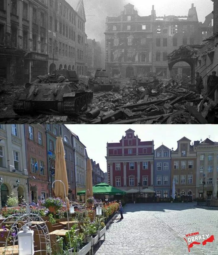 Then & Now: Old Market, Poznan, 1945
