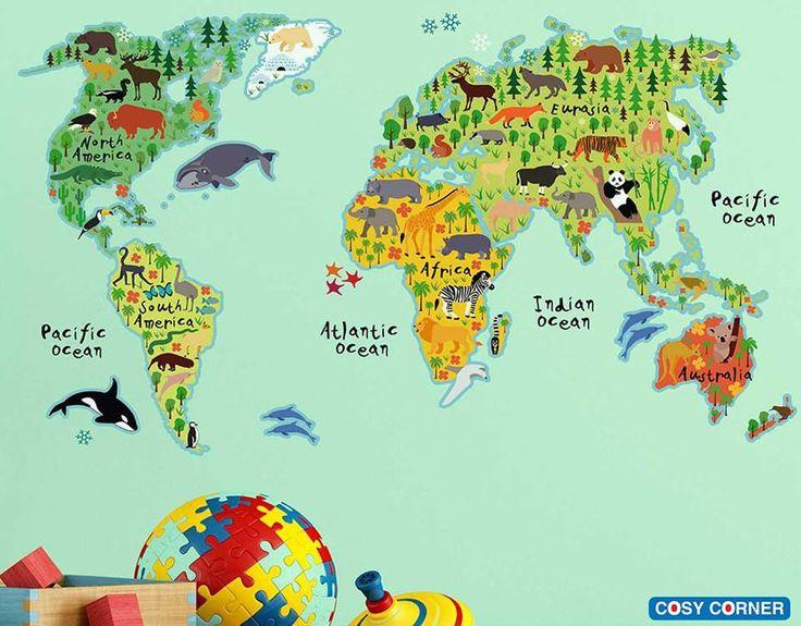 Εκπληκτικά αυτοκόλλητα τοίχου με θέμα: Χάρτης του Κόσμου. Υπέροχη διακόσμηση για το παιδικό δωμάτιο ή το παιδικό σταθμό. Πανεύκολη και γρήγορη τοποθέτηση! https://goo.gl/uBGZji