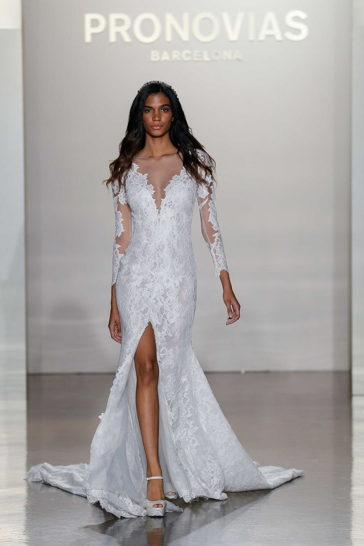 """""""Nenufar"""" V-Neck Illusion, Lace Long-Sleeved Dress with Slit 