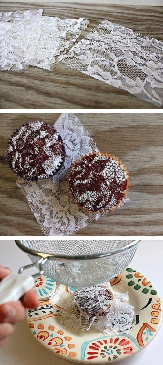 Great idea for muffins: make beautiful ornament with powdered sugar and lace / Делаем узор на кексах с помощью кружева и сахарной пудры