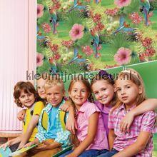 Papegaaien en tropische bloemen paars behang JW3782 Exotisch Behang Expresse