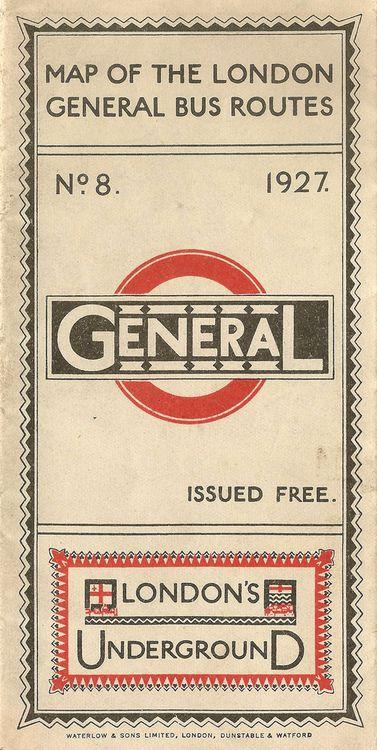 1927 bus route & underground map