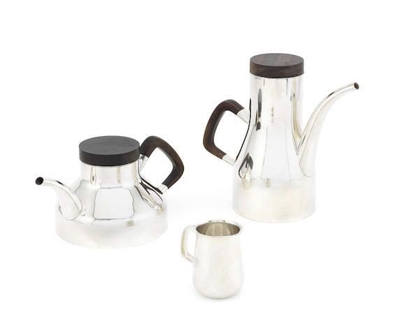 ROBERT RADFORD WELCH: A silver coffee pot, tea pot and cream jug, designed for Heals Birmingham 1972 and 1973, the teapot London 1975 (3)