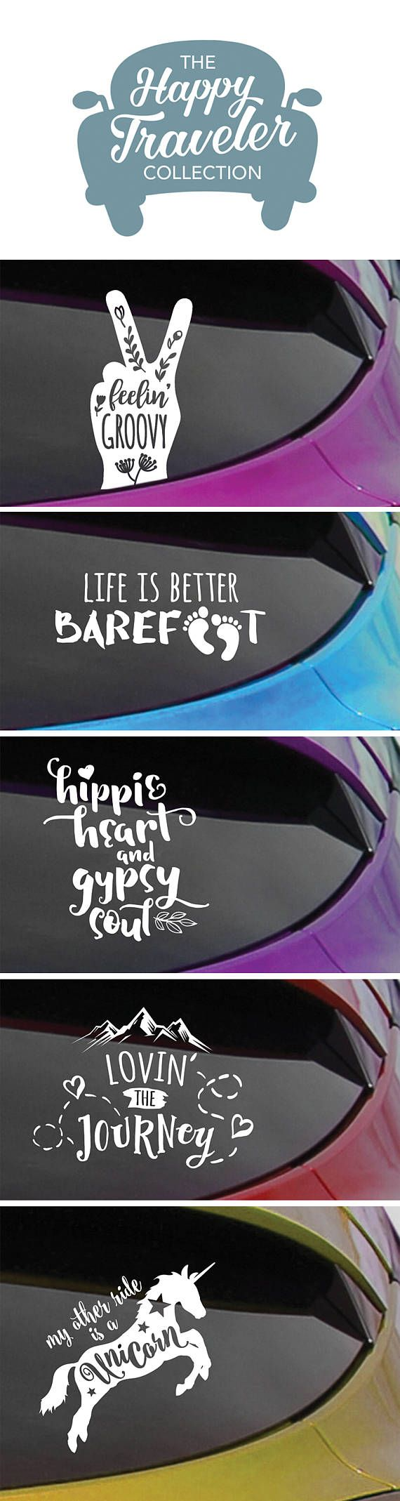 From The Happy Traveler Collection Hippie Decals For Car Windows Or Anything With A Smooth Hard Surface Hippie Decals Cricut Crafts Silhouette Cameo Projects [ 2138 x 570 Pixel ]