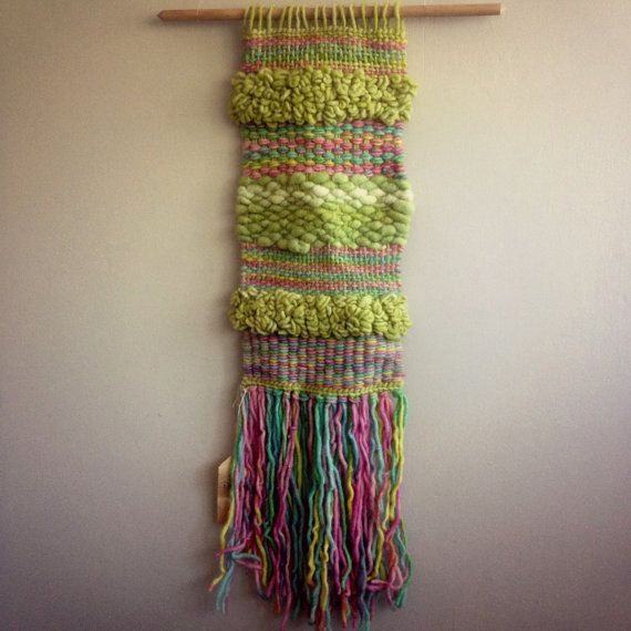 Green and Candy Wall Hanging by CrisalidaTextile on Etsy