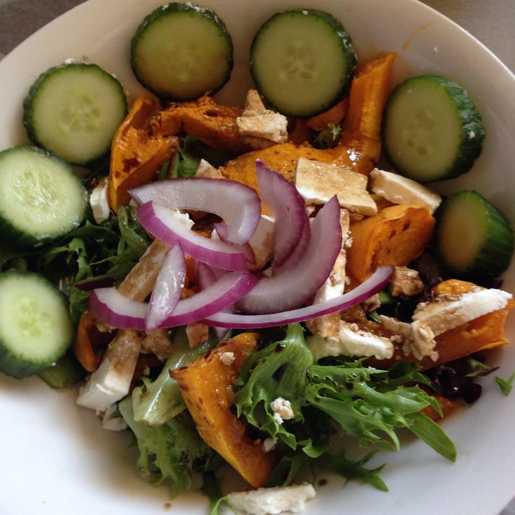 Butternut, cucumber, red onion and feta salad with balsamic dressing.