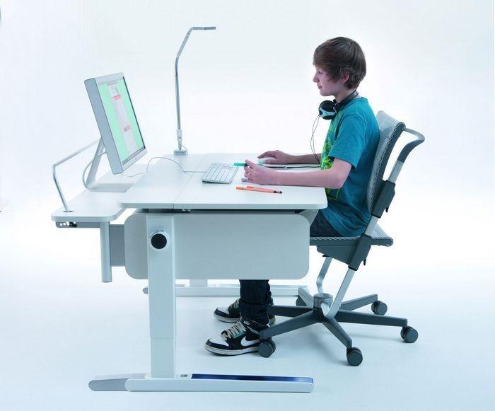 Школьная мебель для подростка, парта Moll, приставка для монитора Multi Deck, лампа Flexlight, стул Scooter