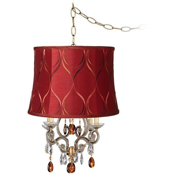 Leila Gold Merlot Designer Shade Plug-In Swag Chandelier... (54 KWD) ❤️ liked on Polyvore featuring home, lighting, ceiling lights, chandeliers, plug in hanging lamps, plug in wall light, plug in light, beaded chain connector and wall light