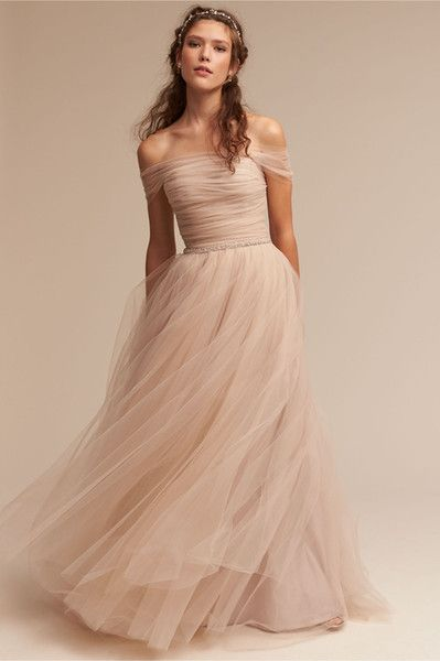 Modern Blush Wedding Dresses 2017 Bhldn Vestido De Noiva With Illusion Off Shoulder And Beaded Sash Pleated Tulle Romantic Bridal Gowns Wedding Dresses Collection Wedding Dresses For From Grace2, $126.48| Dhgate.Com