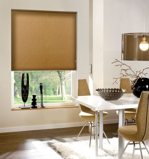 Blindsgalore® Newport Blackout roller shade shown in Coffee