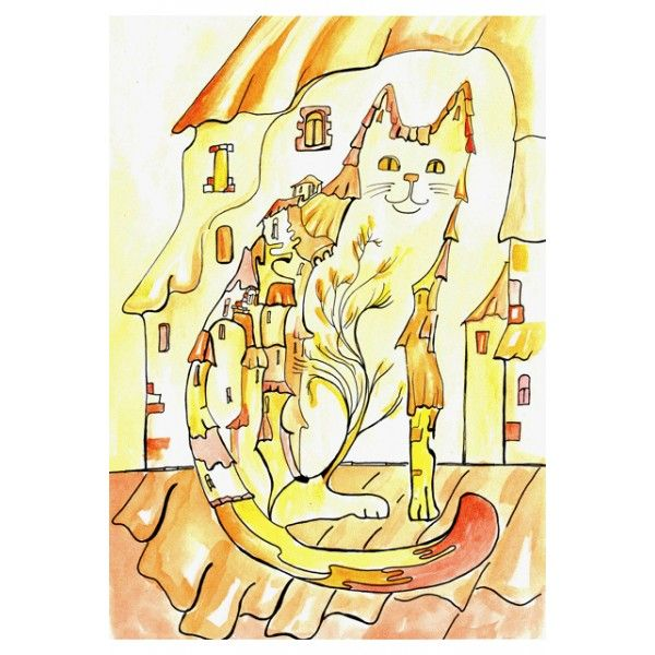 The Autumn Cat-Town - Postcards, Cat story