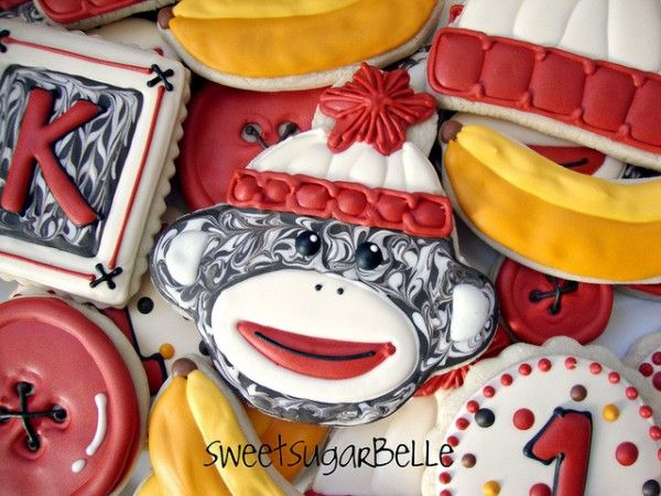 Sock Monkey cookies, so cute! These will be a sure thing for my neice's B-day!