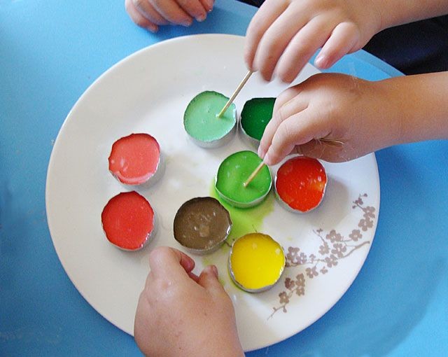 make your own watercolors with baking soda, cornstarch, vinegar, corn syrup, and food coloring.