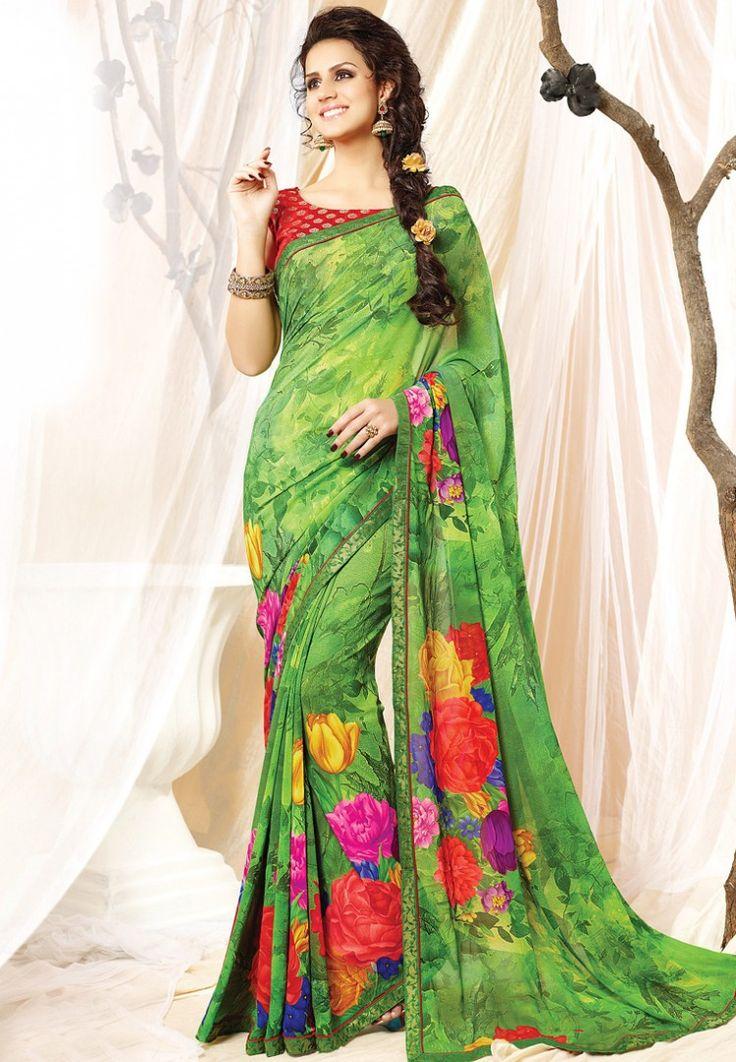 Green Printed Saree at $62.51 (24% OFF)