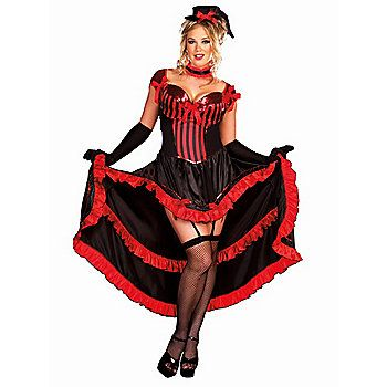 Sexy Plus Size Can- Can in Paris Costume | Sexy Saloon Girl Costumes