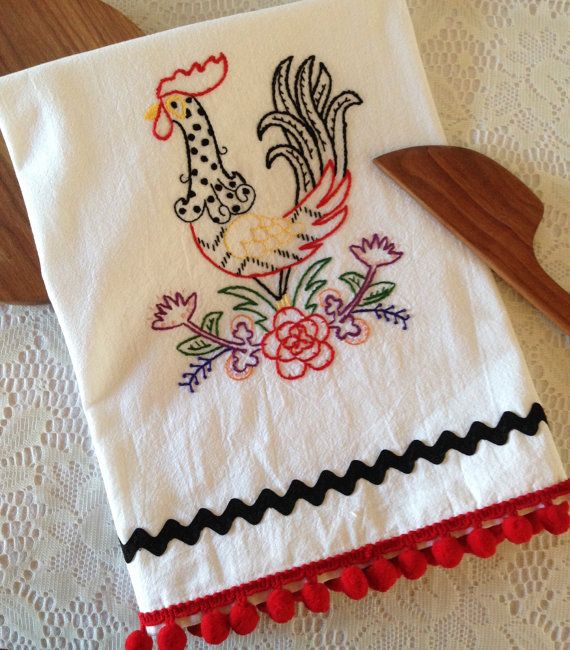 "Flour Sack, ""Folksy Chicken"" Hand Embroidered Tea Towel, White Cotton Towel with Pom Pom/Rick Rack Trim"