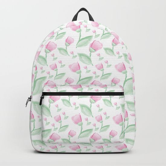 "Our Backpacks are crafted with spun poly fabric for durability and high print quality. Thoughtful details include double zipper enclosures, padded nylon back and bottom, interior laptop pocket (fits up to 15""), adjustable shoulder straps and front pocket for accessories. Dry clean or spot clean only. One unisex size: 17.75""(H) x 12.25""(W) x 5.75""(D). Back to school backpack #society6 #backpack #loveschool #backtoschool #school #flowers #floral #watercolors #watercolorflowers #tulips #pink…"
