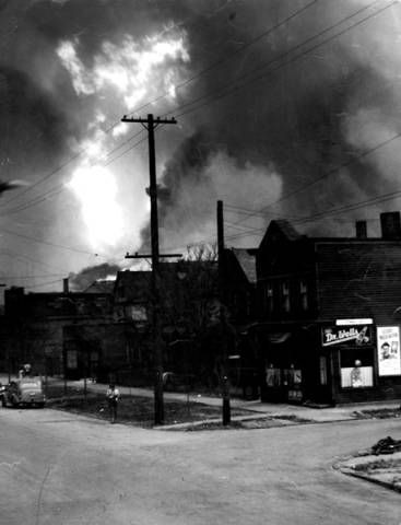 View of explosion, looking from E. 55th. Street ...