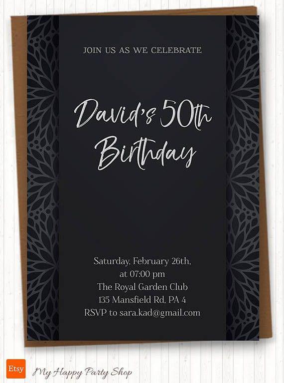 Man Birthday Invitation Elegant Invitation For Him Dark Ornament