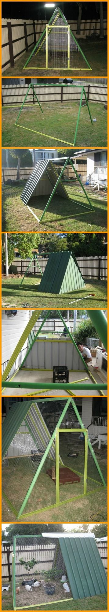 We love ingenuity. This chicken coop made from an old swing set is a good example. http://theownerbuildernetwork.co/04su
