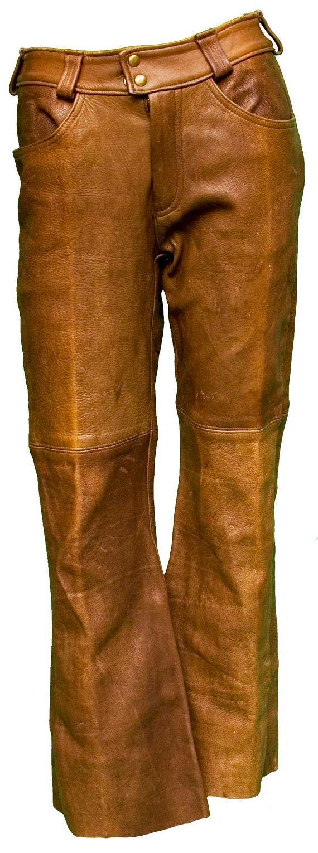 1960s Small Pants Leather Unisex Mens Womens Mod Zig Zag Weed Rolling Paper Brown Hippie Boho Bohemian Rocker Biker Jimi Hendrix Woodstock