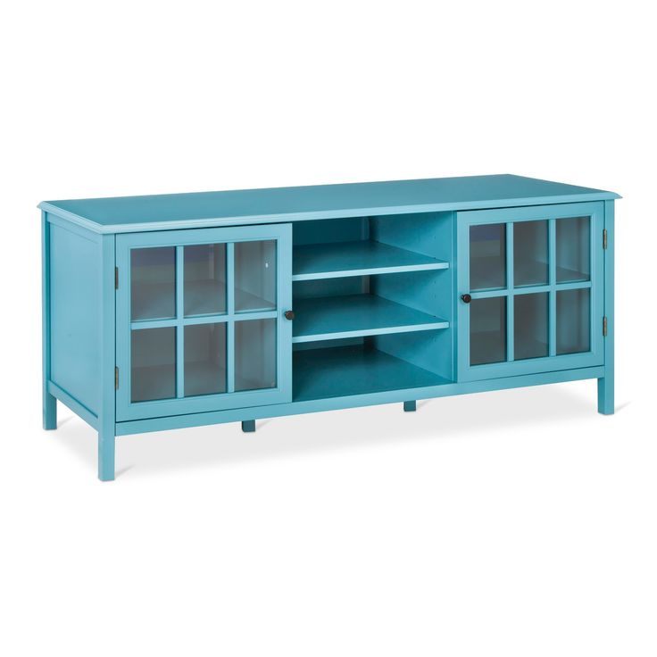 Windham Large TV Stand Teal (Blue) - Threshold
