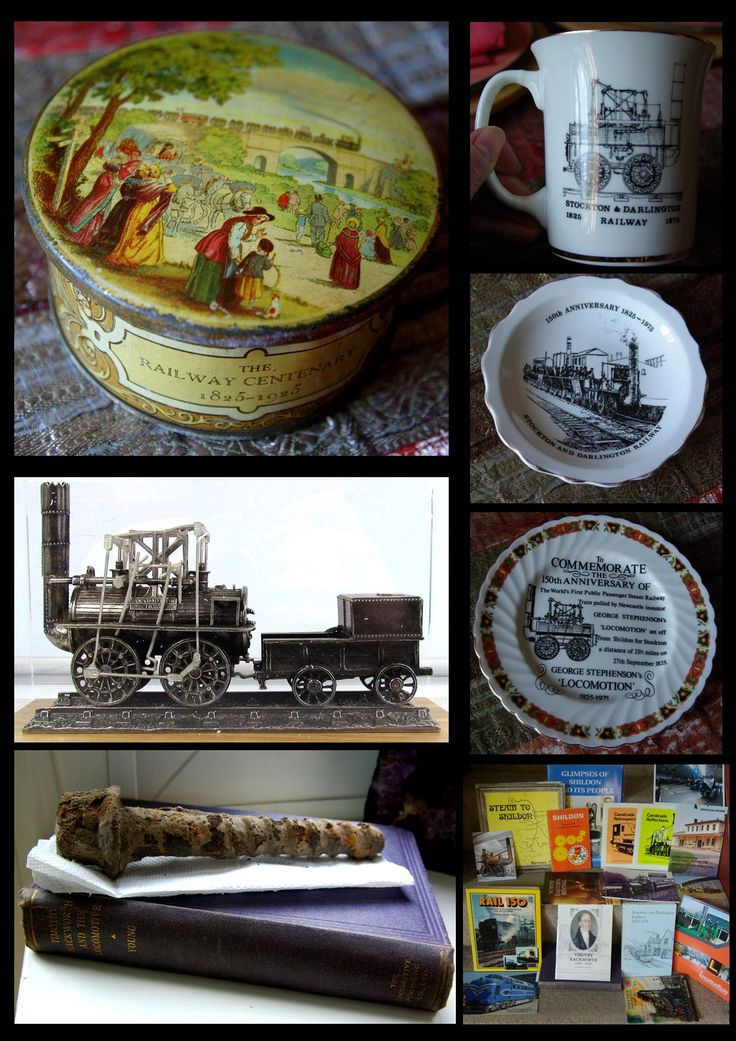 some of my S&DR collection, a 1925 commemorative tin, pewter Locomotion model, first edition Timothy Hackworth book with an original bolt I found on the line when walking in the 70s, some of my books and some 1975 souvenir plates.