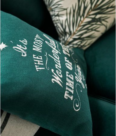 H&M Home Dark green. Cushion cover in woven cotton fabric with a printed Christmas motif. #ad
