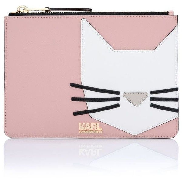 Karl Lagerfeld K/Shopper Small Cat Pouch found on Polyvore featuring bags, handbags, misty rose, leather man bag, genuine leather handbags, cat purse, leather hand bags and leather purse