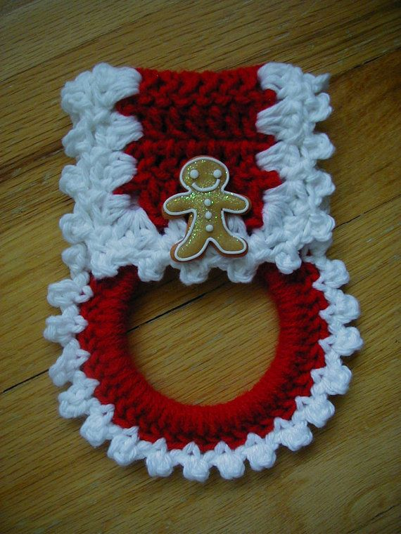 Hand crochet towel holder