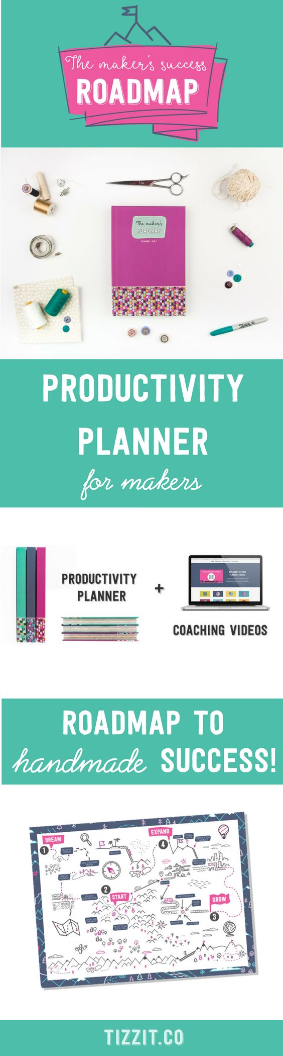 A productivity planner and growth framework for etsy sellers, makers and handmade shop owners. The Maker's Roadmap is designed to help you start, grow and profit from your handmade shop by providing you with: ♥️ A step-by-step plan based on the 4 main stages of handmade business growth, so you know exactly what you need to focus on next; ♥️ An implementation system to finally beat the overwhelm, set goals you can achieve, and be more productive than ever.