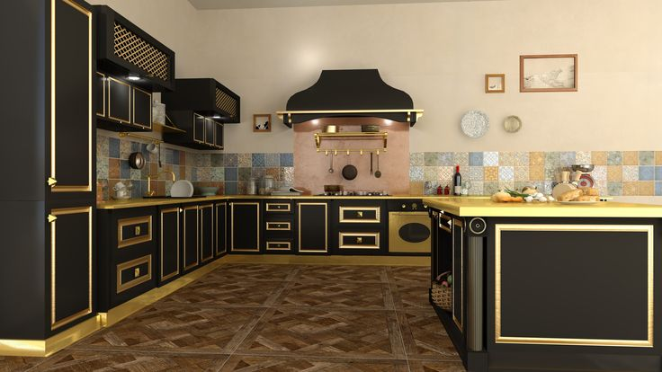 Classic kitchen with Colorobbia tiles: (Claude-Floor, Majol-Backsplash) rendered with V-Ray and DomuS3D 2017
