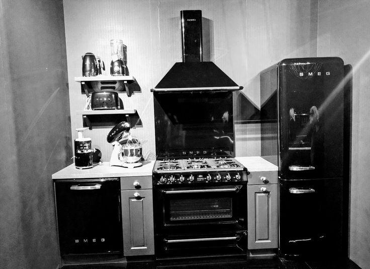 #Smeg kitchen appliances fit for a Condo, Black Fridge Black oven Black Dishwasher
